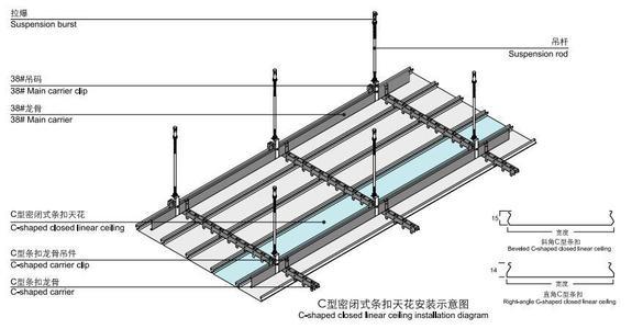 钢挂集成吊顶-铝方通吊顶安裝方式