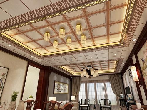 装潢铝扣板效果图-新式铝蜂窝大板吊顶效果图