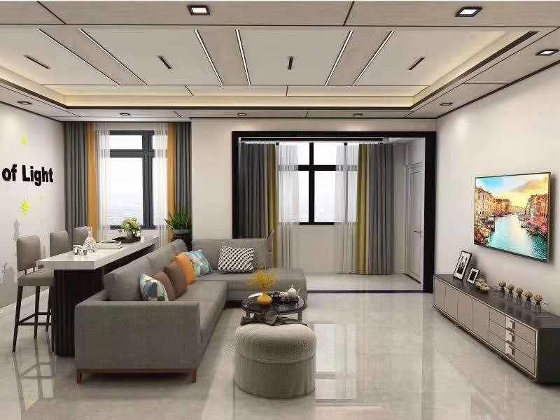 客厅铝蜂窝板吊顶实景图,装的好不好看一目了然!